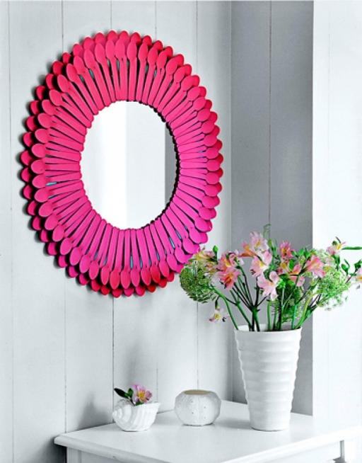 for Decoracion de espejo con cucharas